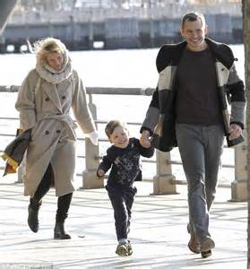 claire danes son claire danes enjoys a family stroll with husband hugh and