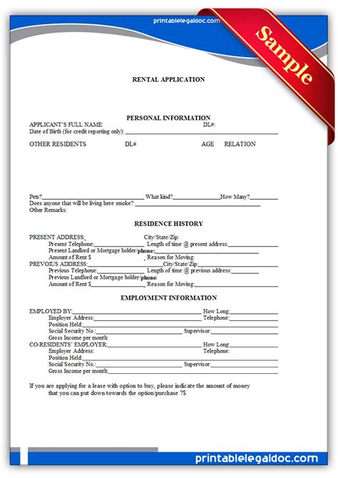 free massachusetts rental application form pdf eforms free