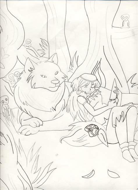 princess mononoke coloring pages wolf princess mononoke by fuhimiro on deviantart
