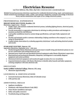 free cv sles electrician maintenance worker resume sle resume companion