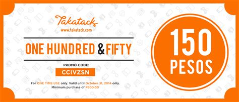 Voucher Promo free php150 shopping coupon at takatack