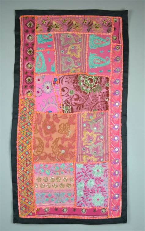 Patchwork Wall Hanging - pink and turquoise patchwork wall hanging dilliway