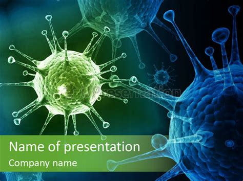 virus powerpoint template green virus organism russian influenza molecular