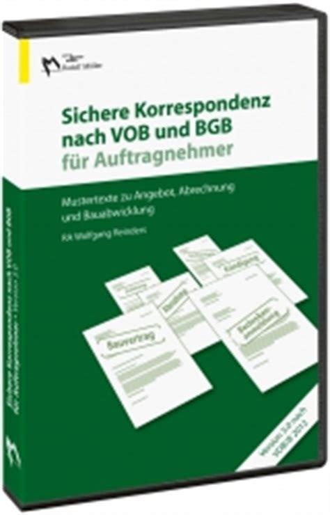 Vob Musterbriefe Und Formulare Für Unternehmer Sichere Korrespondenz Nach Vob Bgb F 252 R Auftragnehmer Malerblatt Medienservice