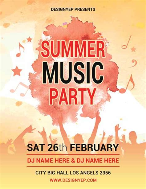 free templates for music flyers summer music party free psd flyer template