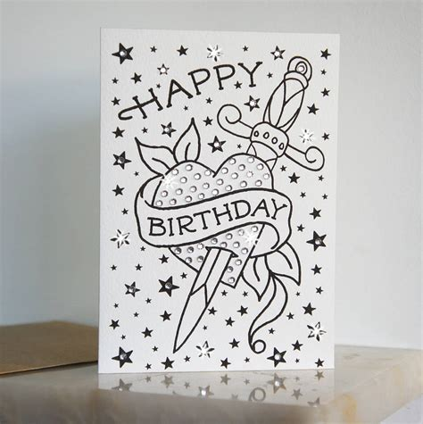 happy birthday tattoo dagger birthday card with diamante by spdesign