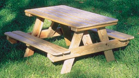 wooden picnic table  benches plans   homemade pool