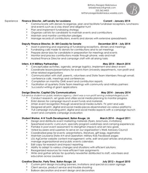 4 H Resume by Resume Babineaux