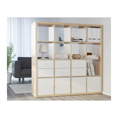 etagere 2 meter kallax insert with door white stained oak effect 33x33 cm