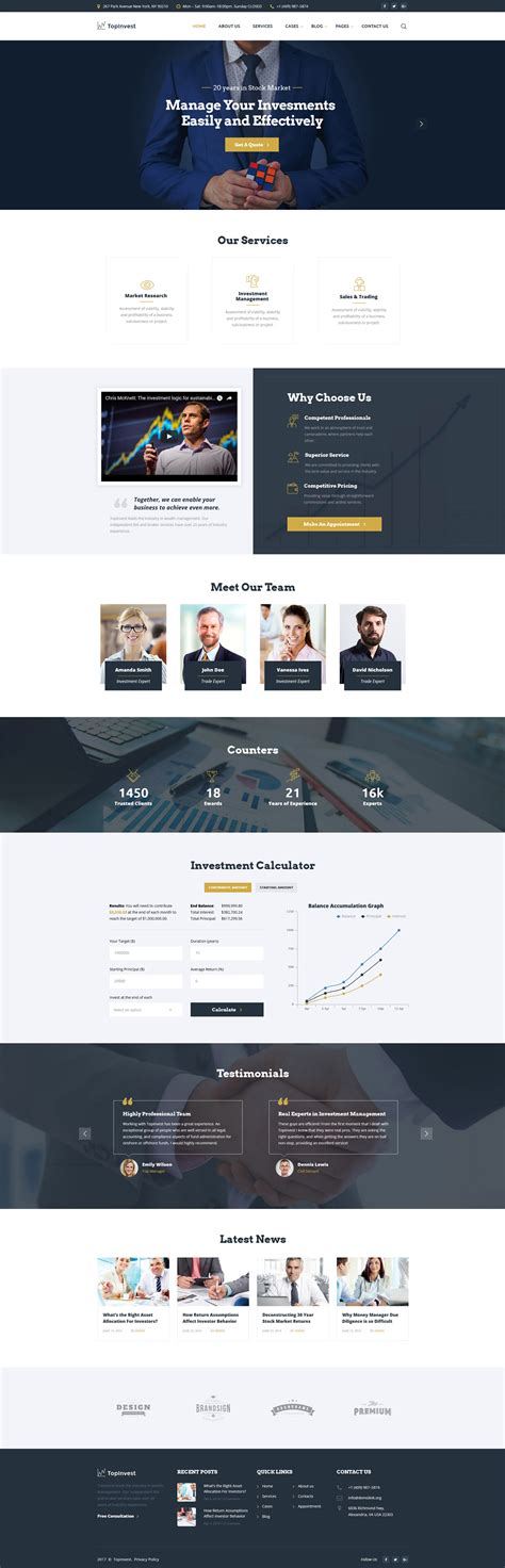 responsive website templates for quiz investment company responsive website template 61344