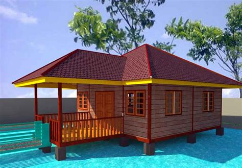gambar desain rumah panggung kayu  atas kolam