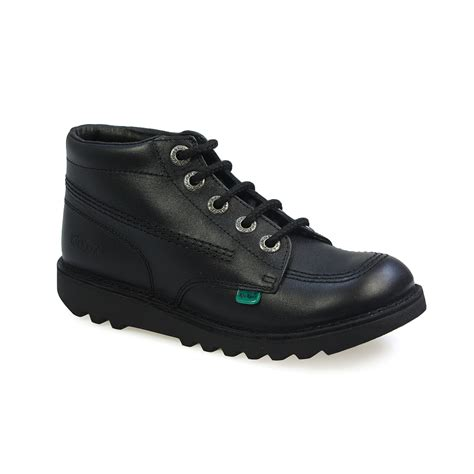 Kickers Shoes 5 kickers kick hi youth black leather lace up ankle boots size 3 6 5 ebay