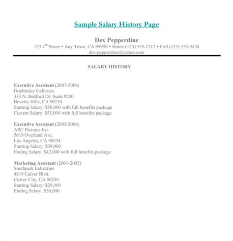 cover letter with salary history exle salary history template 6 free documents in
