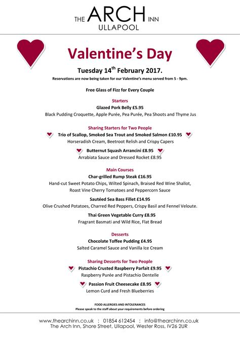 valentines day menu s day dinner menu the arch inn