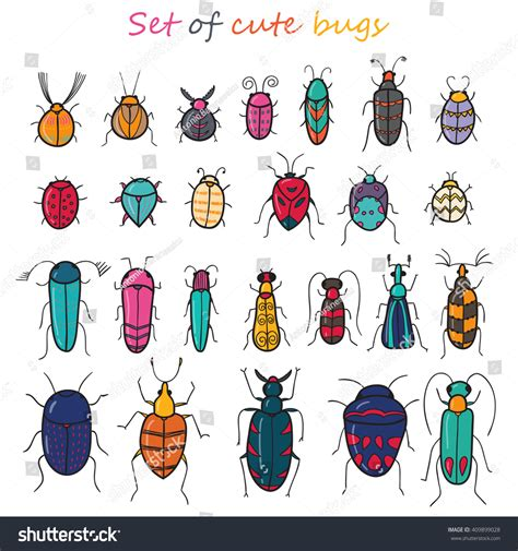 doodle bug worm set 25 color insects stock vector 409899028
