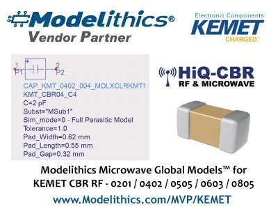 kemet capacitor simulation kemet and modelithics partner to provide highly accurate models for cbr rf capacitor series