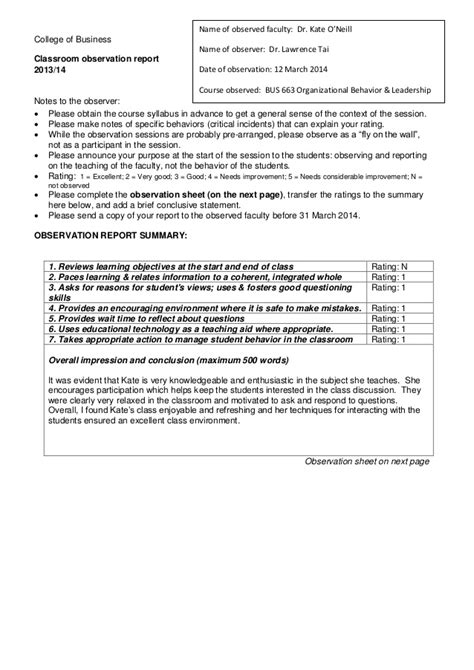 classroom observation report sle classroom observation report kate march 2014