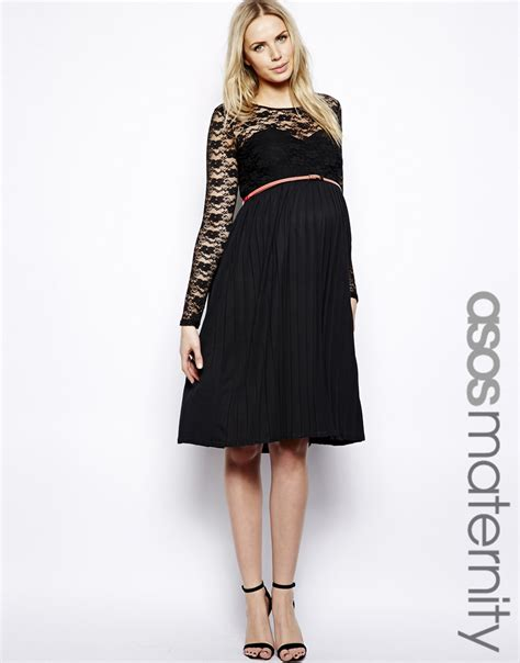 43322 Black Fifth Lace Casual Top asos exclusive midi dress with lace top and pleated skirt