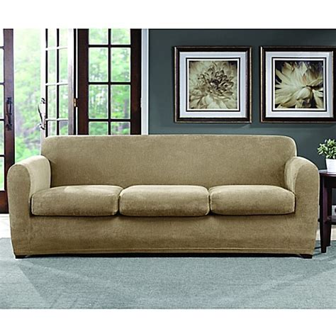 bed bath and beyond sofa slipcovers sure fit 174 stretch chenille 3 cushion sofa