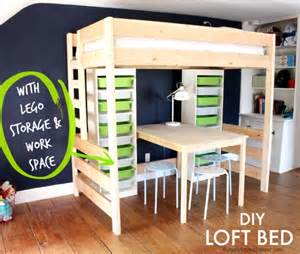 8 Diy Storage Beds To Add Space And Organization To by That S My Letter Diy Loft Bed With Lego Storage Work Space