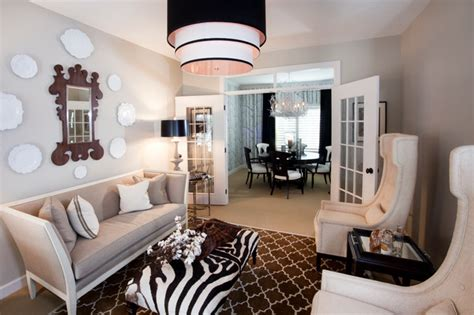 black white livingdining room eclectic living room