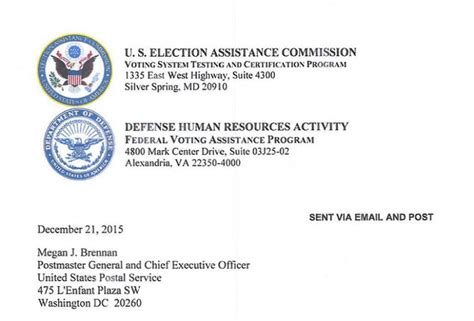 Offer Letter Usps eac fvap letter to usps flags delivery issues seeks cooperation on mailed ballots election