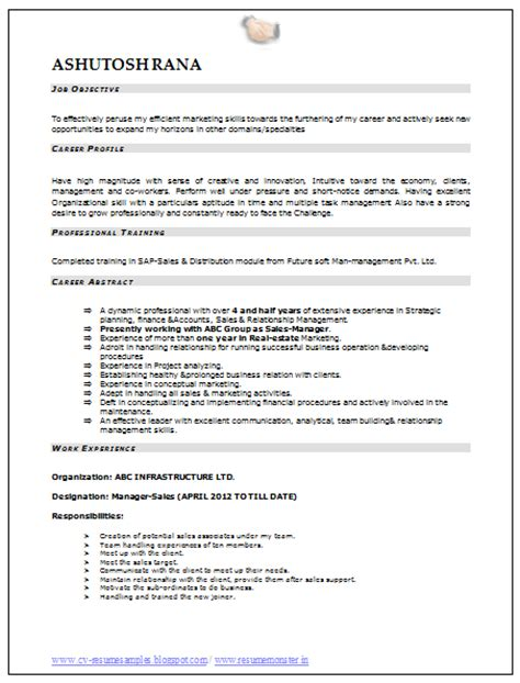 resume format for mba marketing fresher 10000 cv and resume sles with free mba marketing resume sle