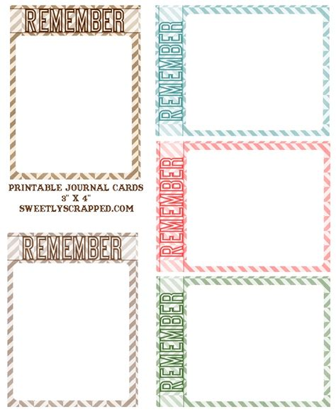 Journaling Cards Template by Sweetly Scrapped Free Printable Quot Remember Quot Journal Cards