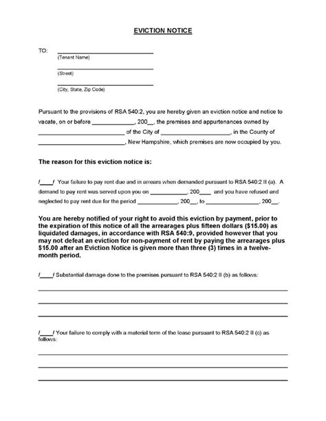 separation agreement template ireland new hshire eviction notice ez landlord forms