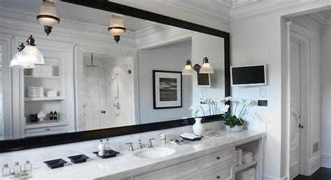 bathroom mirror with built in tv built in vanity transitional bathroom pricey pads