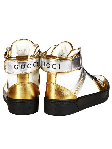 Gucci G063 White List Gold gucci gucci new basketball metallic leather high top