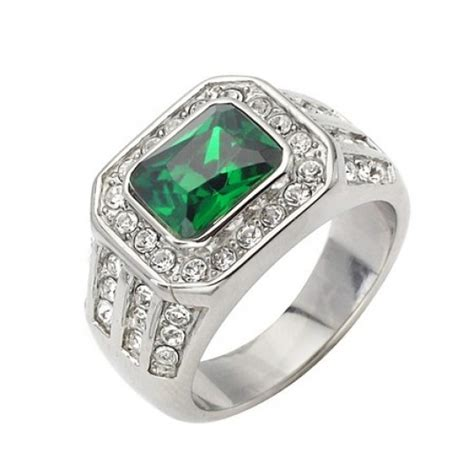 mens classic emerald cut cz ring