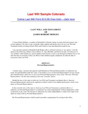 26 Printable Sle Codicil To Last Will And Testament Forms And Templates Fillable Sles In Colorado Will Template