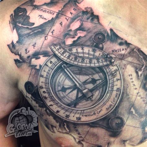 compass and map tattoo travel for tattoos that illuminate traveling sundial