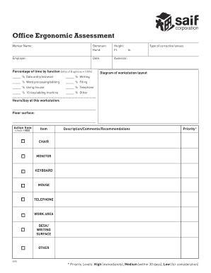 Office Ergonomics Assessment Worksheet Fill Online Printable Fillable Blank Ergonomic Risk Assessment Template