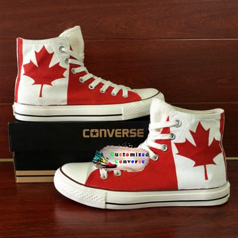 Handmade Shoes Canada - canada flag shoes custom converse shoes by