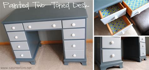 Desk Paint Ideas by Painted Two Toned Desk Tips On Painting Furniture