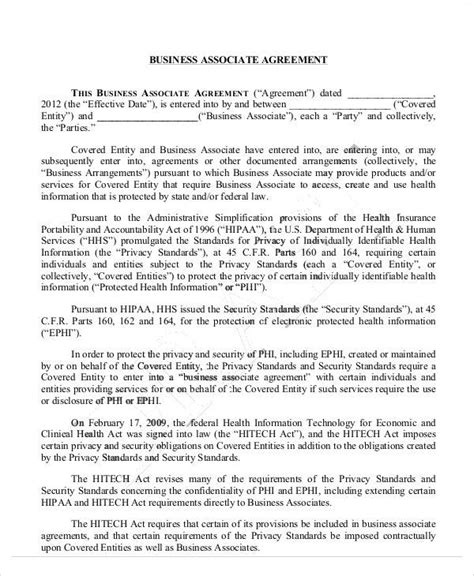 hipaa business associate agreement template business agreement sle