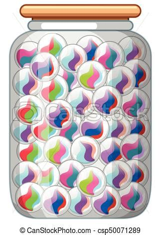 colorful jars colorful marbles in glass jar illustration