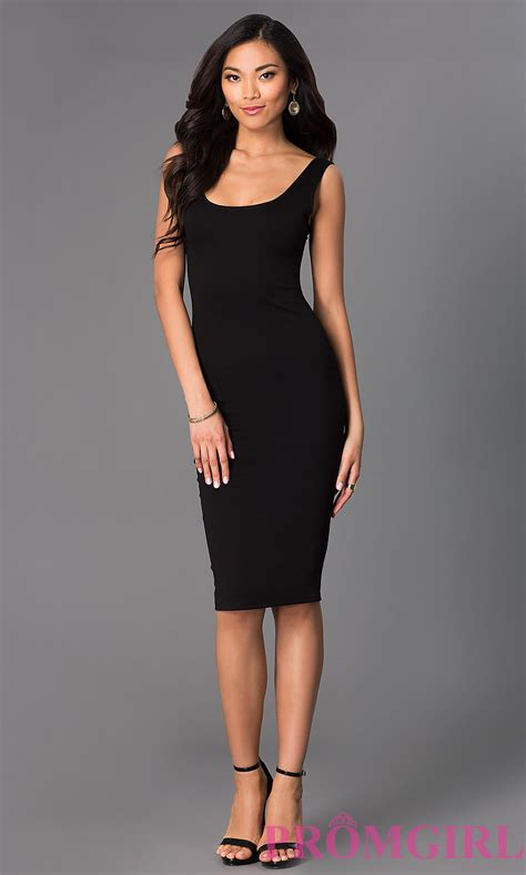 Dress Black scoop neck sleeveless midi dresses promgirl