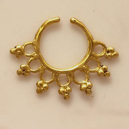 beautiful detailed brass septum for non pierced nose