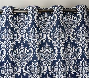 Blue And White Grommet Curtains Pair Of Grommet Top Curtains In Navy Blue And White By