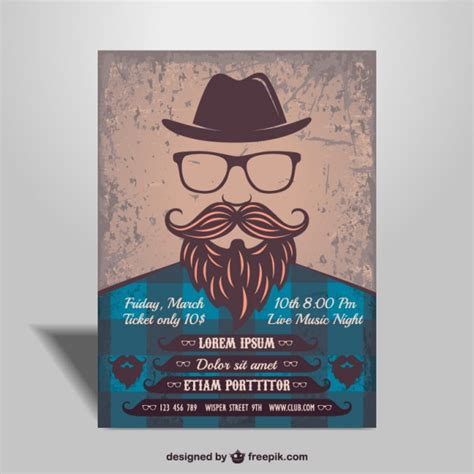 poster design editor hipster man music party poster vector free download