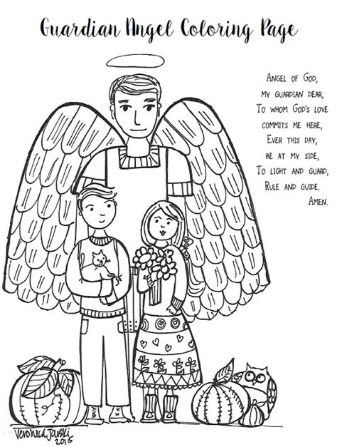 guardian angels coloring page paper dali feast day of the guardian angels free