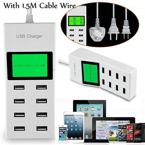 Tc Travel Carger Casaan Samsung Led 2 1 A 2 Slot Usb 8 usb ports led display us eu uk with lcd display wall charger adapter for samsung s8