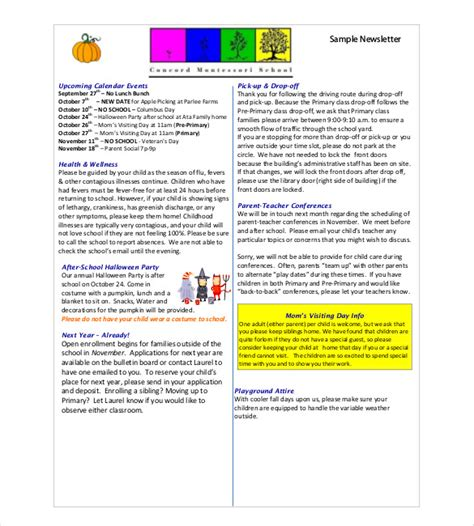 free school newsletter templates classroom newsletter template 9 free word pdf