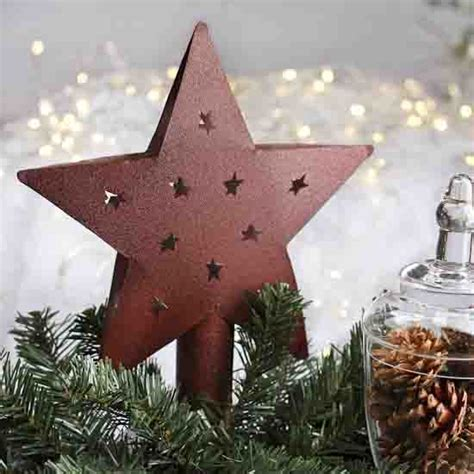 Rustic Red Metal Tree Topper   Trees and Toppers