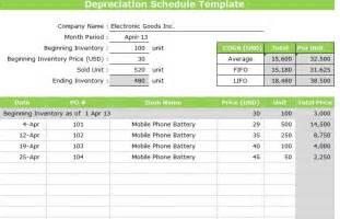 depreciation schedule template word excel
