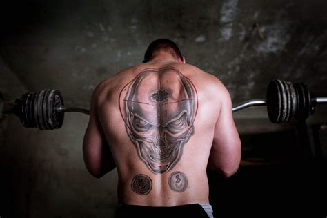 back tattoo exercise sports bodybuilder weightlifter fitness muscle tattoo