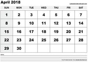 Calendar For April 2018 April 2018 Calendar